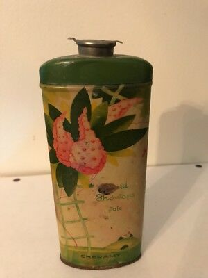 Vintage Art Deco APRIL SHOWERS Talcum Powder Tin Cheramy