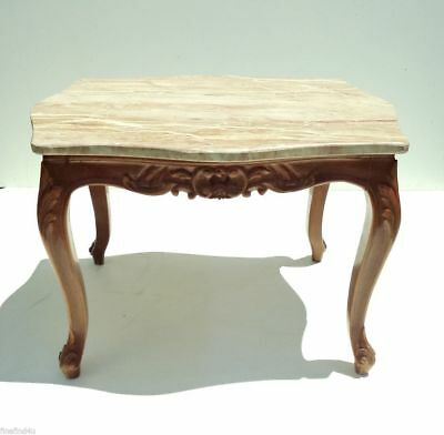 """Marble Top Wood Carved Egyptian Baroque Side End Table Nice!! 25"""" x 20.5"""" x 17.5"""