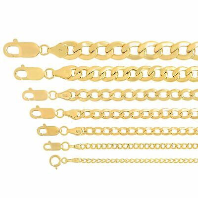 """Real 14k Yellow Gold Cuban Link Curb Chain Pendant Necklace Sz 16""""-30"""""""