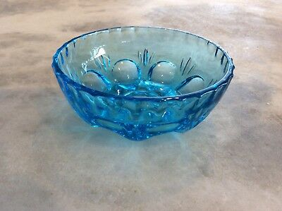 Pretty Vintage Blue Glass Bowl with Pattern