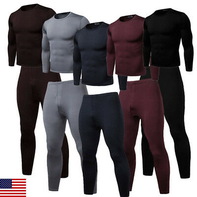 US STOCK Thermal underwear sets Men Winter Long Sweat fleece quick drying thermo