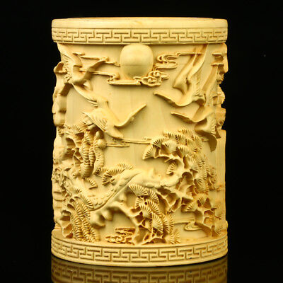 Chinese Boxwood Hand Carved Pine & Crane Brush Pot RB004+a