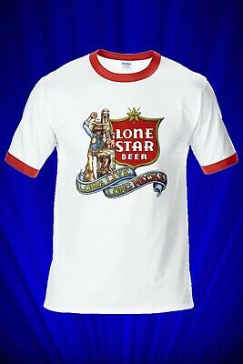 Lone Star Beer Vintage RINGER Tee T-SHIRT FREE S&H USA Coors Budweiser