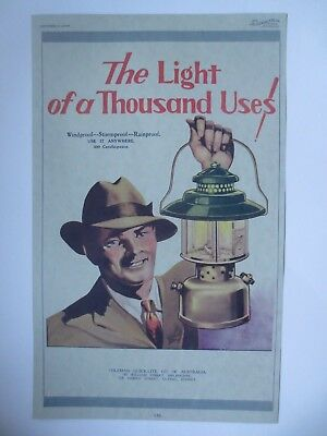 Vintage Australian advertising 1933 ad COLEMAN QUICK-LITE LAMPS lantern art
