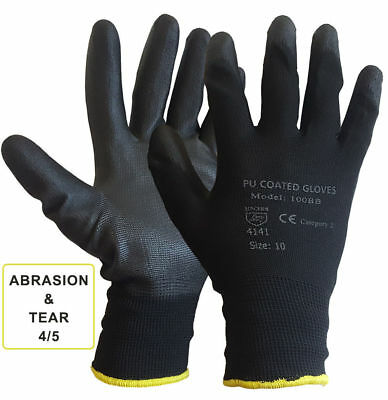 24 Pairs Nylon Pu Coated Safety Work Gloves Gardening Builders Mechanic Grip