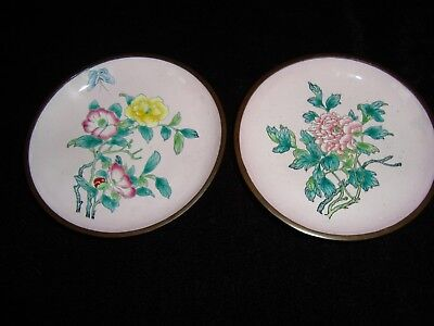Pair Of Small Chinese Pink Cloisonne Hand Painted Floral Bronze Plates.