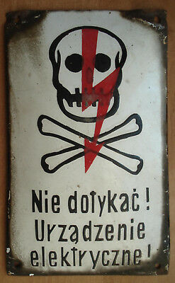 Original Skull Vintage Antique Enamel Porcelain Danger Sign