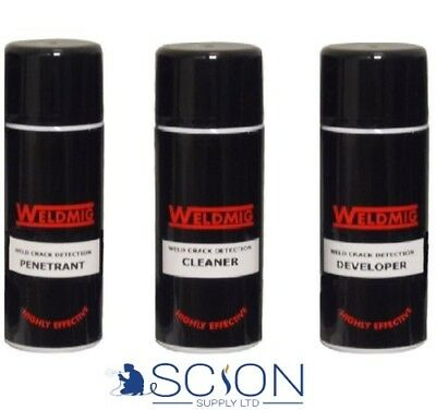 Weld Crack Detector Aerosols Dye Penetrant Developer & Cleaner or full set of 3