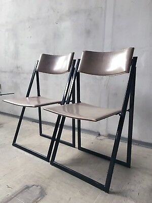 1of2 RARE ITALIAN 1970s FOLDING CHAIR TAN LEATHER METAL FRAME BY MATTEO GRASSI