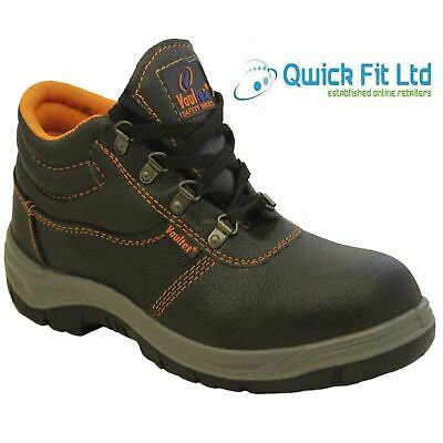 New Mens Chukka Leather Safety Hiker Work Steel Toe Cap Boots Ladies Black Shoes