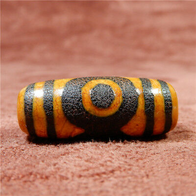 band certificate tibet dzi bead old agate 3 Eye amulet gzi antique Pendant A0284