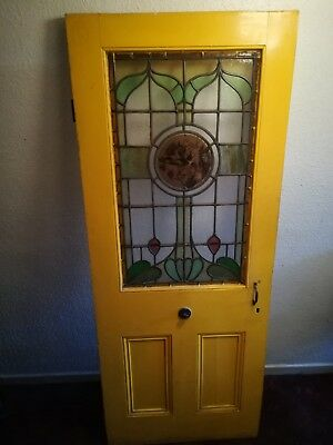 1890 Victorian/Edwardian painted wooden door, in the Art Nouveau style.