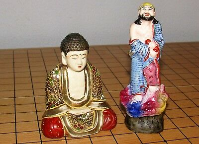 Satsuma Style Buddha and Polychrome Japanese Figure