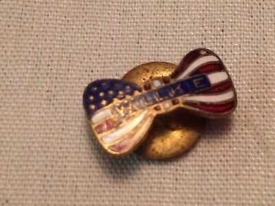 Willkie Enamel American Flag Bow Tie Political Pin