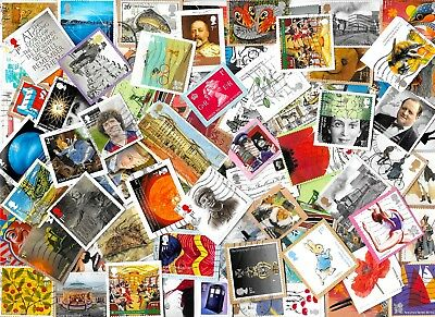 (3) GREAT BRITAIN - Commemorative Stamps Kiloware Approx 40 gms on Paper 2 scans