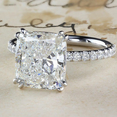 5Ct White Cushion Cut Diamond Solitaire Engagement Ring 14K White Gold