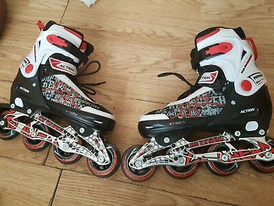 roller blades one size also comes with helmet and pads