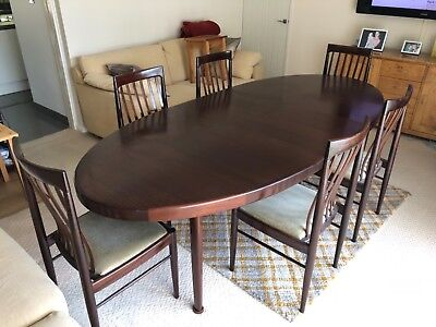 Danish dining table and six chairs by HW Klein / Bramin 1970's