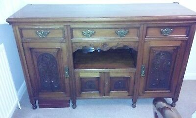 Antique Edwardian Style  Mahogany Carved Finish Traditional Sideboard -