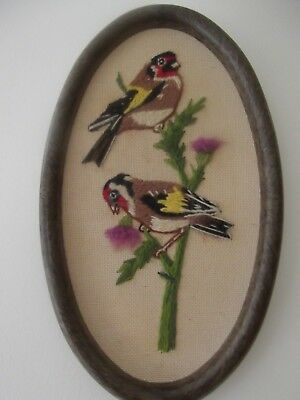 Vintage oval embroidery picture of birds with thistles really pretty