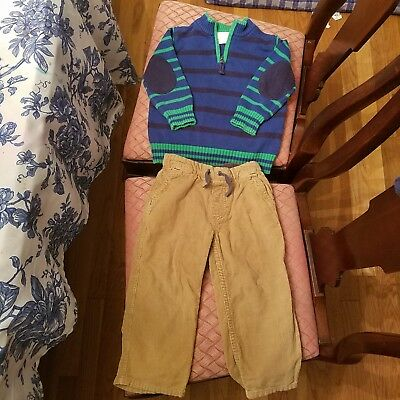 2 piece Hanna Andersson lot size 90 3T sweater corduroy pants