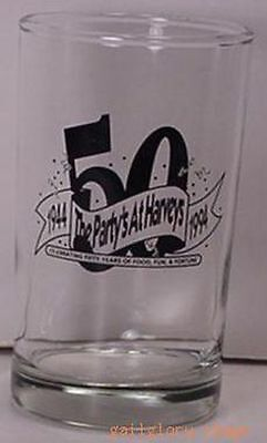 """The Party's At Harveys 50 Years 1944-1994 Cocktail Glass 4"""" Tall s"""