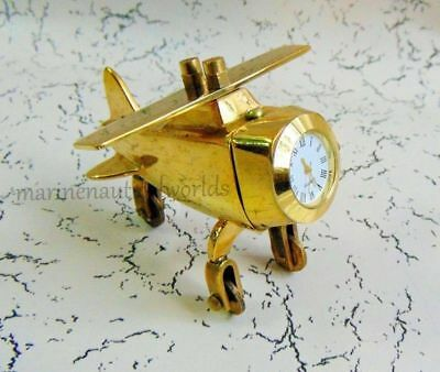Brass Paper Weight Airplane Model Clock Front Solid Brass Office Desk Decorative