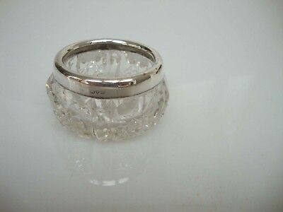 Antique Hallmarked Chester Silver Rim Cut Glass Salt Dish Trinket Bowl