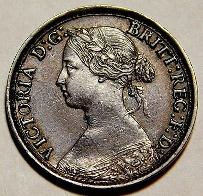 1864 Great Britain   Farthing Excellent Details.  Pics Are Lighter   A30-930