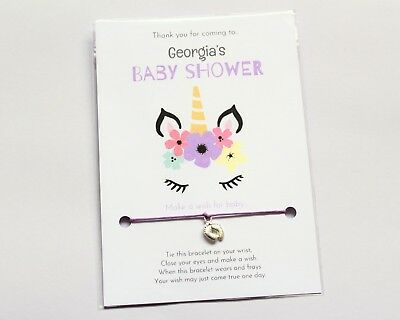 Personalised Baby Shower  /'Make A Wish/' Bracelet Favor Party Prize Boy Girl
