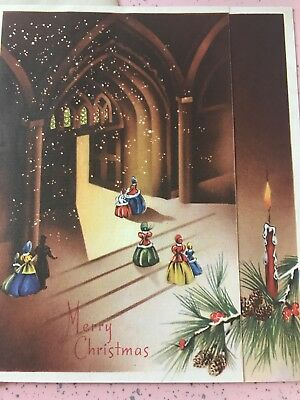 Vintage Christmas Card Ladies Chapel Candles Cathedral Pinecones Art Deco 1943