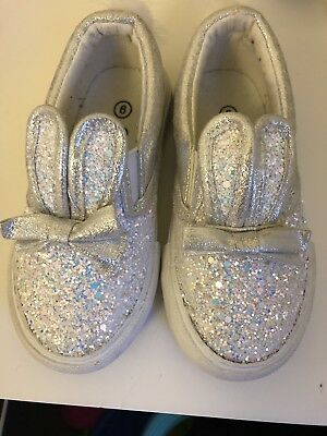 Girls Glitter Sparkle Bunny Trainers Pumps Size 6/23