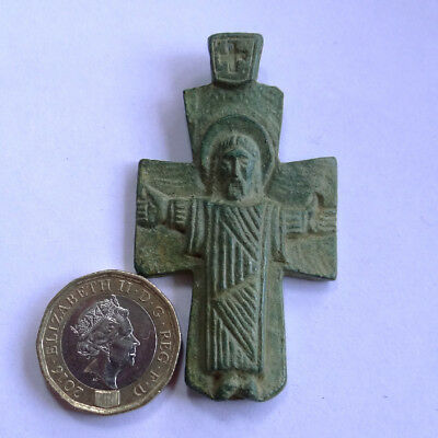 Ancient Artifact Bronze Medieval Massive Cross With Saints