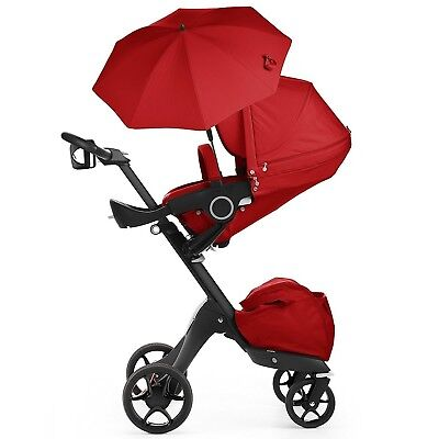 Stokke Black Chasis With Complete Stroller Seat, Parasol and Cup Holder, Red