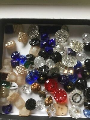 Lot Of 80 ANTIQUE VINTAGE BUTTONS -TINY GLASS TREASURES