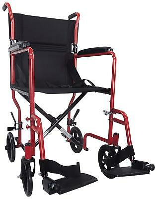 Aidapt Red Compact Folding Transport Padded Wheelchair BRAND NEW