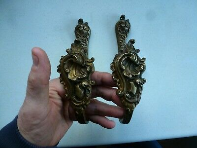 Antique Brass Curtain Tie Backs Hooks French Rococo Baroque  Gilt