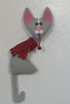 CAT HOLIDAY-tall lanky felt  ornament or magnet with bell-kutiekatz