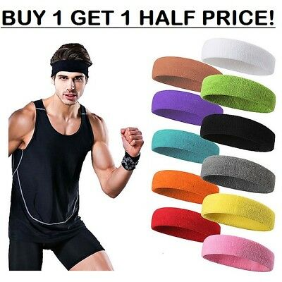 Ladies Mens Stretchy Sports Gym COTTON Sweatband Towelling Headband Hair Band
