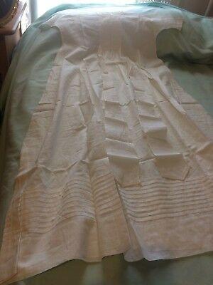 Lovely Antique/ Vintage Baby Or Doll White Cotton Christening Dress With Tucks