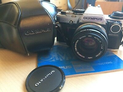 Olympus OM10 35mm Film  Camera + Manual Adaptor + 50mm f1.8 Zuiko lens + case