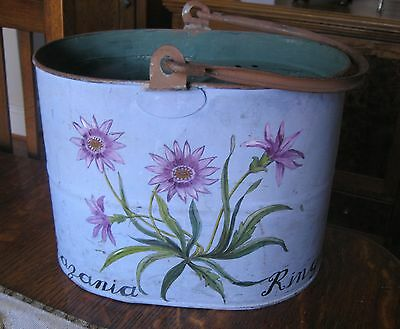 Vintage Handpainted Galvanized Metal English Mop Bucket