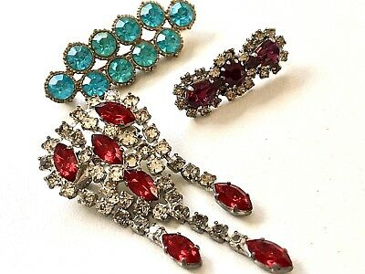 Vintage 30/40s Deco Diamante Old Time Glamour Joblot of Three Brooches