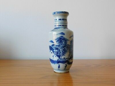 c.18th - Antique Chinese Blue & White Porcelain Kangxi Small Rouleau Vase