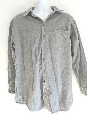 Vintage Woolrich Mens Cotton Chambray XL Gray Button Down Shirt Made in the USA