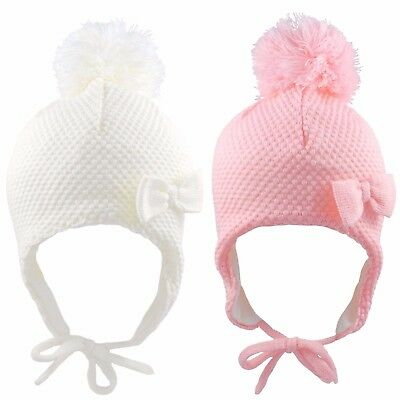 Baby Girls Pom Pom Hat With Bow And Chin Tie Warm Winter Fleece Lined 6-18 Month