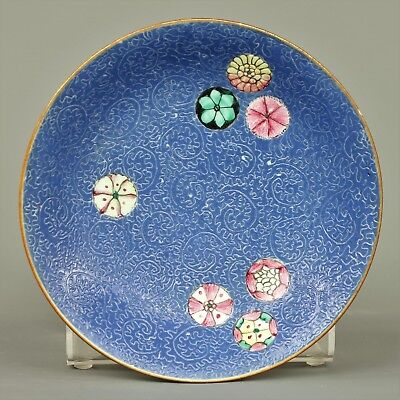 A chinese famille rose sgraffito blue ground plate - Qianlong mark  - 19th C