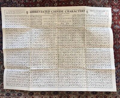 Oriental Culture Chart Abbreviated Chinese Character W.M. Hawley #3 27 X 35 1946