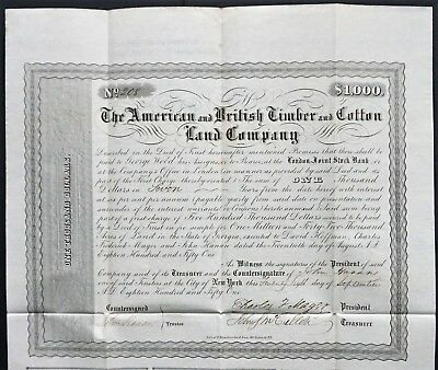 USA - The American and British Timber and Cotton Land Company (Georgia) 1851
