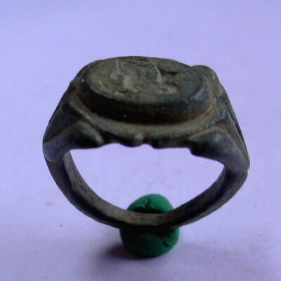 Byzantine Ancient Artifact Bronze Ring With Hippocampus